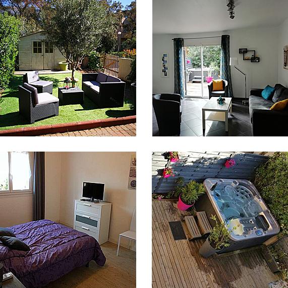 Mosaïque de photos de la villa en Corse : intérieur, jardin, jacuzzi...
